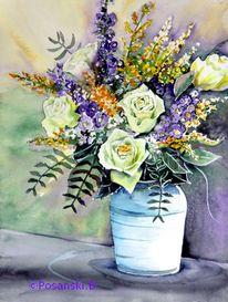 Blumen, Aquarellmalerei, Rose, Blumenstrauß