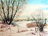 Winter, Schnee, Winterlandschaft, Kiesgrube