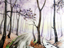 Winter, Wald, Waldweg, Aquarellmalerei