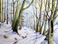 Winter, Aquarell, Winterwald