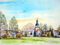 Zweenfurth, Borsdorf, Ortsansicht, Aquarell