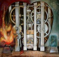 Surreal, Feuer, Ölmalerei, Zahnräder