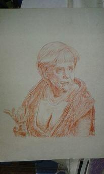 Zeichnung, Figural, Portrait, Hände