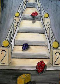 Leben, Treppe, Bunt, Würfel