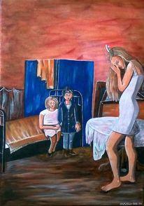Kinder, Paravent, Blau, Bett