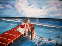 Frau, Meer, Wasser, Herne