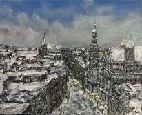 Winter, Perlachturm, Schnee, Rathaus