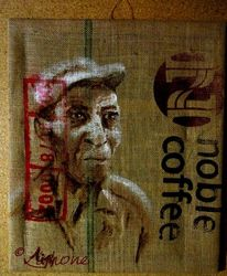 Alt, Mann, Kaffee, Malerei