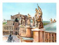 Dresden, Semperoper, Aquarellmalerei, Aquarell