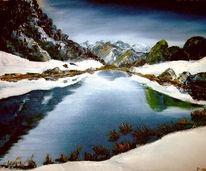 Berge, See, Südtirol, Malerei