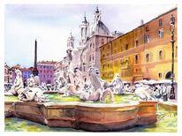 Fontana, Piazza, Nettuno, Aquarell