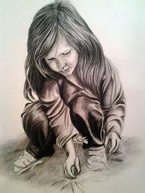 Wiese, Portrait, Kohlezeichnung, Spaziergang