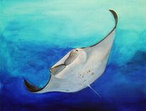 Acrylmalerei, Blau, Tiere, Meer