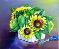 Gelb, Blumen, Vase, Rot