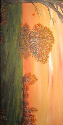 Sonnenuntergang, Wiese, Blätter, Jahreszeiten