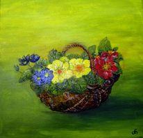 Blüte, Primeln, Weidenkorb, Blumen