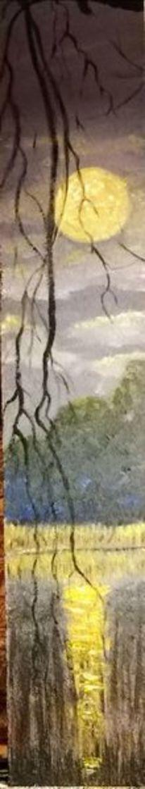 Natur, Baum, Mond, Spiegelung