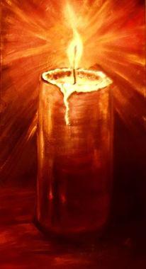 Wärme, Kerzen, Licht, Ölmalerei