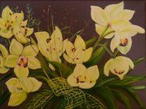 Gelb, Blätter, Orchidee, Natur
