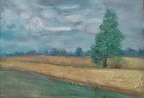 Feld, Sommer, Pastellmalerei, Wolfsruh