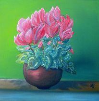 Ölmalerei, Blumentopf, Blüte, Gelb