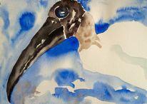 Farben, Tiere, Vogel aquarell skizze, Aquarell