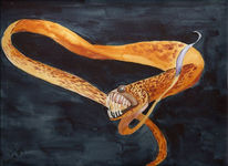 Tiefsee, Monster, Aquarellmalerei, Malerei