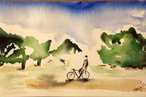 Aquarellmalerei, Landschaft, Skizze, Sommer