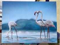 Airbrush, Flamingo, Sprühdose, Mischtechnik