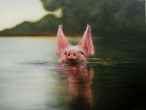 Schwein, Airbrush, Sprühdose, Malerei