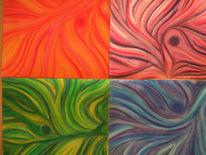 Rosa, Wirbel, Bunt, Grün