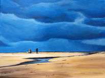 Meer, Menschen, Hund, Nordsee