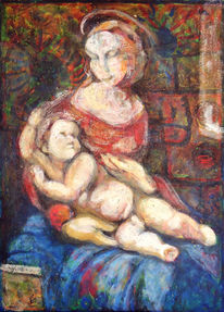 Kind, Acrylmalerei, Madonna, Karton