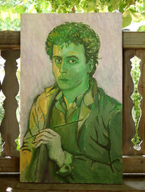 Selbstportrait, Portrait, Gemälde, Grün