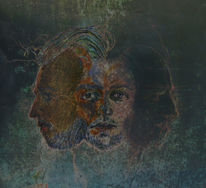 Dunkel, Gemälde, Blau, Kopf