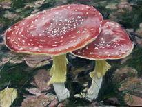 Pilze, Blätter, Fliegenpilz, Rot