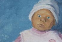 Ölmalerei, Rosa, Blau, Puppe