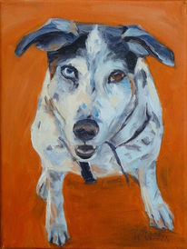 Hund, Portrait, Ölmalerei, Orange