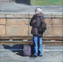 Tasche, Bundesbahn, Warten, Gleis