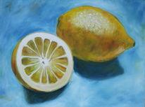 Stillleben, Gelb, Blau, Obst