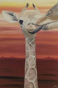 Rot, Baby, Giraffe, Acrylmalerei