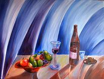 Tafel, Wein, Obst, Stillleben