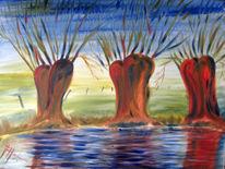 Ölmalerei, Baum, Rot, Herbst