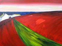 Landschaft, Feld, Hof, Rot