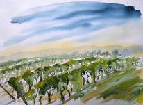 Wachau, Wein, Radtour, Aquarellmalerei