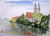 Aquarellmalerei, Landschaft, Inn, Fluss