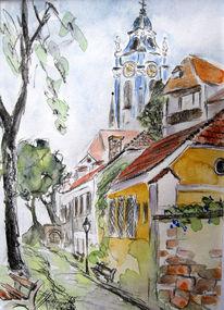 Kirchturm, Bleistiftzeichnung, Kohlezeichnung, Aquarellmalerei