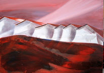 Mischtechnik, Rot, Sand, Häuser
