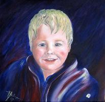 Kind, Ölmalerei, Blau, Farben