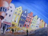 Stadt, Haus, Österreich, Acrylmalerei